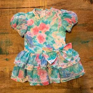 Vintage | 80s Floral Dress, Size 2T
